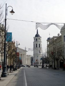 cattedrale di vilnius e torre da via negozi gedimino