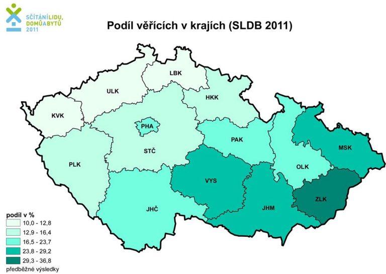 Mappa della Repubblica Ceca con indice di religiosià secondo l'ultimo censimento
