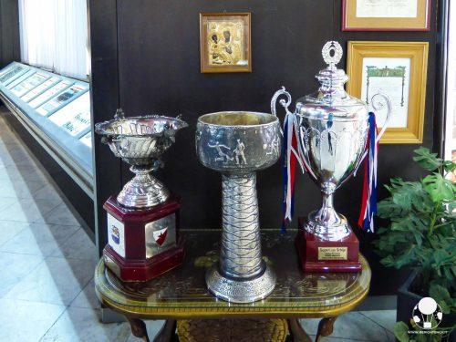 Trofei della Stella Rossa all'interno del museo allo stadio Rajko Mitić