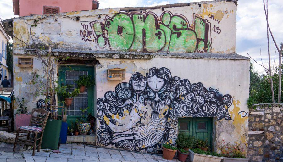 Centro Atene Grecia street art angolo delizioso con angeli