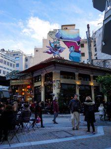 Atene murales quartiere di psyri sopra ristorante