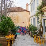 Centro Atene Grecia street art colorata kafeneio
