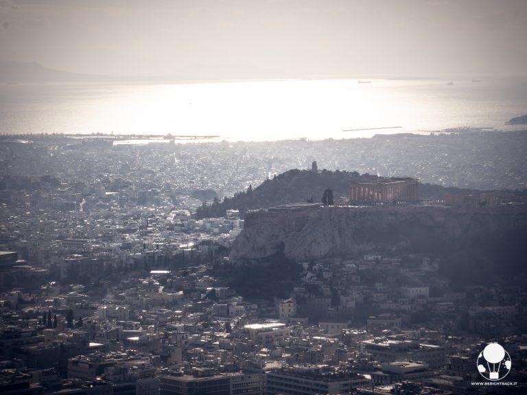 partenone acropoli pireo visti da collina licabetto al tramonto
