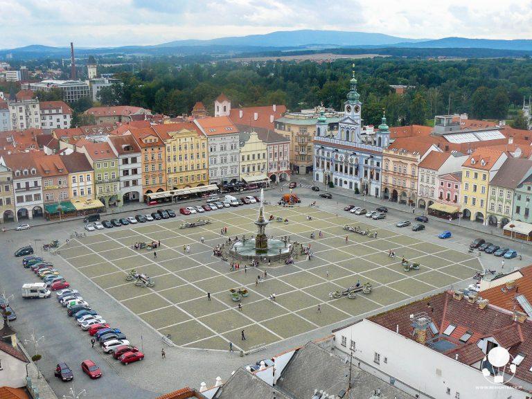 repubblica ceca boemia del sud capoluogo ceske budejovice piazza e torre nera vista