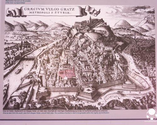 graz austria stiria aspetto citta mura fortificazioni nel 1600