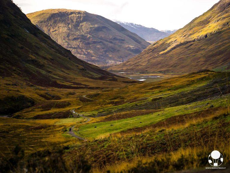 scozia itinerario autunnale vallata glencoe cime innevate