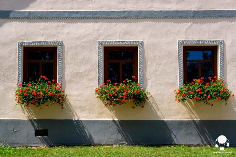 holasovice boemia del sud villaggio unesco repubblica ceca finestre fattoria rosa con decorazioni finestre e fiori