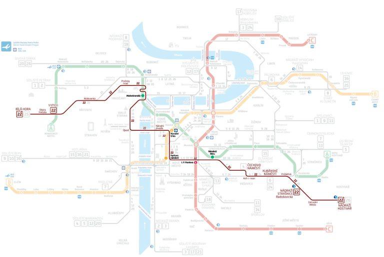 praga tram 22 fermate mappa da hostivar a bila hora