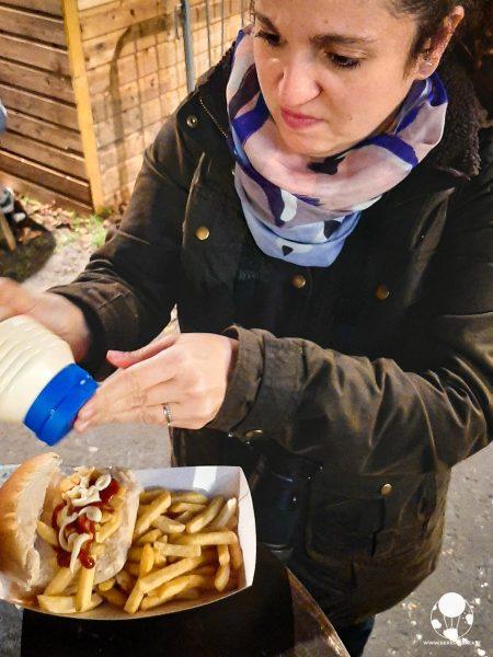 piatto tradizionale britannico chip butty patatine fritte in panino