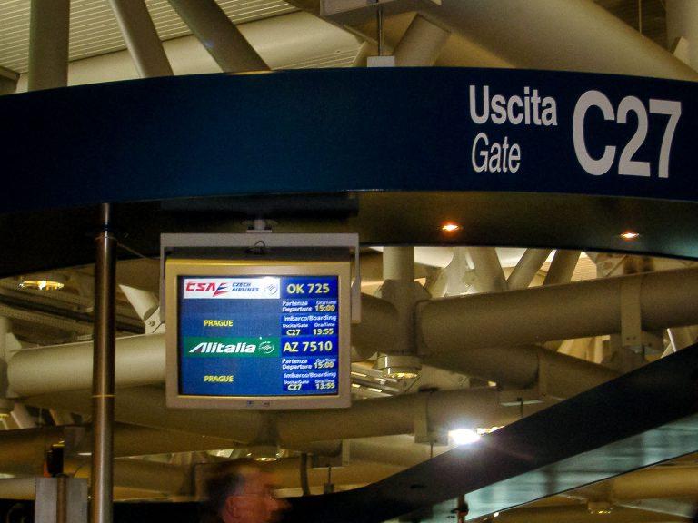 aeroporto roma volo csa alitalia fiumicino praga