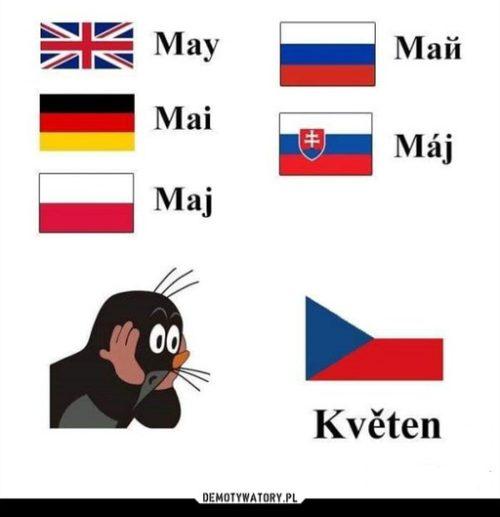 Maggio in inglese, tedesco, polacco, russo, slovacco e ceco