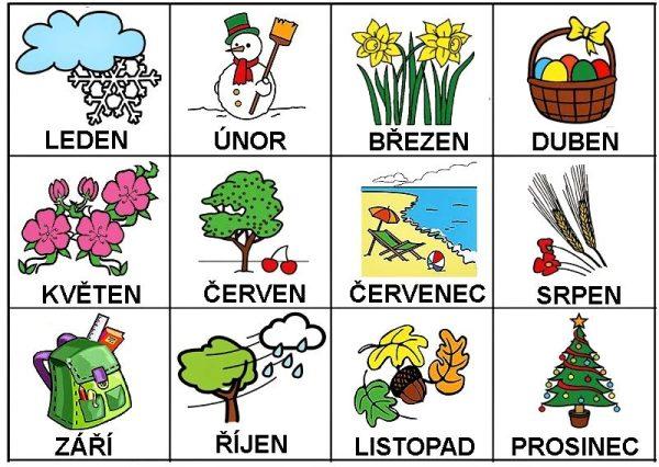 Nomi dei mesi in ceco con illustrazioni