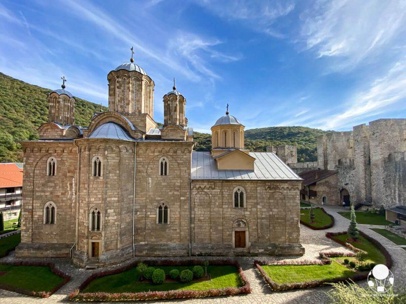 Veduta d'insieme del monastero di Manasija, Serbia